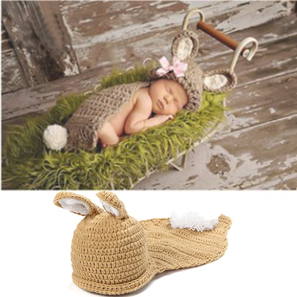 Baby Photography Props Newborn Boy and Girl Crochet Outfit Infant Boys Coming Home Photo Doll Accessories Fox Suit Costume Baby Hat BP037