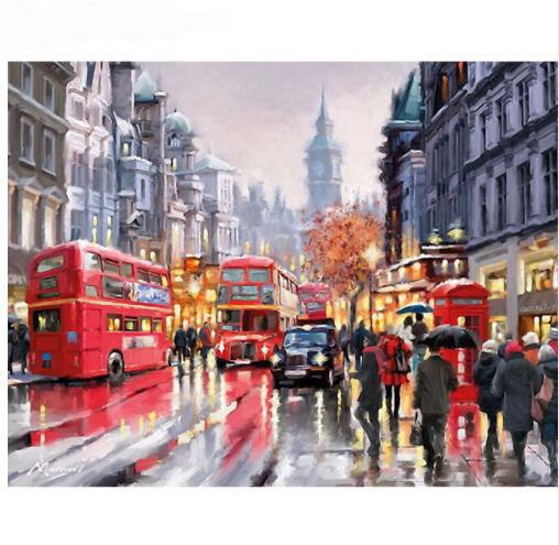 Rain Street Europe Modern Diy Painting By Numbers Hand Painted Oil Painting On Canvas For Home Decor Artwork 40x50cm