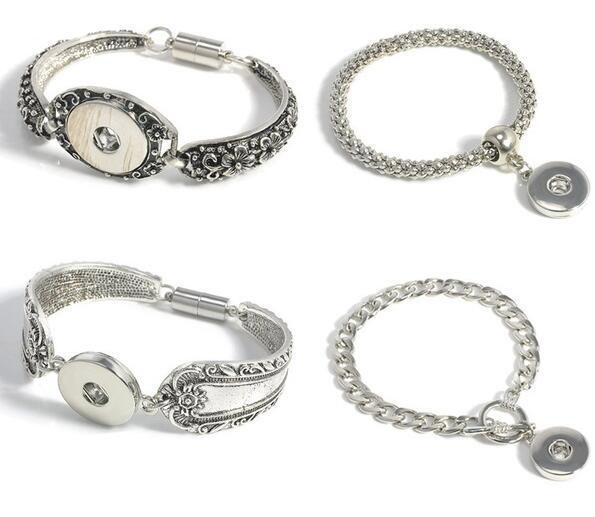 10 Pcs Snap Boutons Bracelets Bracelets Antique Argent Gravé Fleurs Magnétiques Fermoirs DIY Ginger Snaps Bijoux Interchangeables