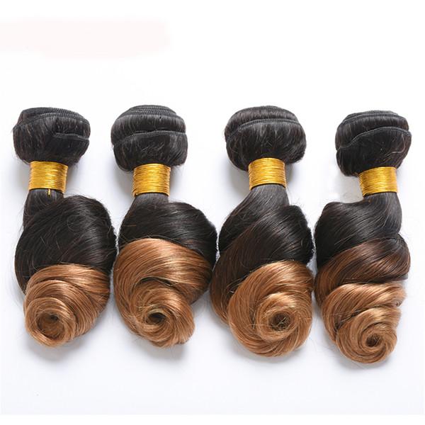 1 pezzo di capelli brasiliani dell'onda del corpo di Ombre di 1 pezzo Bundles 1B / 27 estensioni dei capelli umani del tessuto dei capelli di Remy possono comprare più pezzo