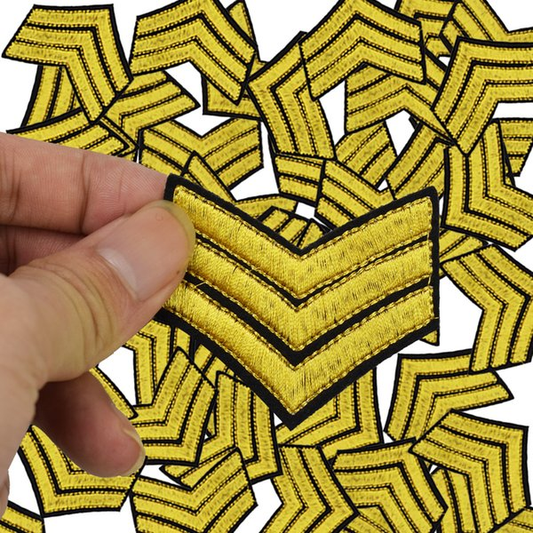 top popular Military Stripe embroidered badge patches for clothing iron embroidered patch applique iron on patches sewing accessories for clothing 2020