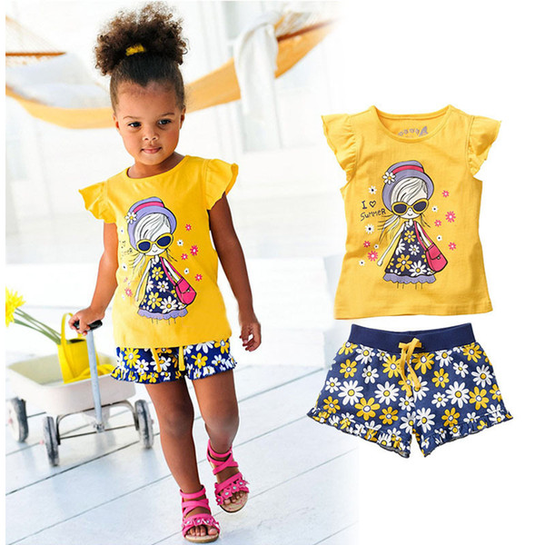 Summer Girls Baby Clothing Set T-shirts Shorts Outfits Children Kids Cotton Ruffles Shirts Tops Tees Floral Short Trousers Pants Suits Sets