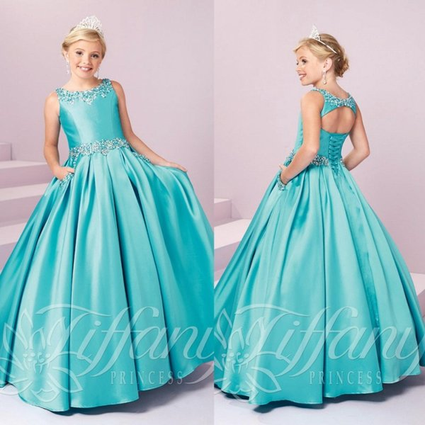 Hot Sales Girls Pageant Dresses Crystals Beaded Princess Satin Floor Length Birthday Gown Lace Up Flower Girl's Dress Teens Formal Wear