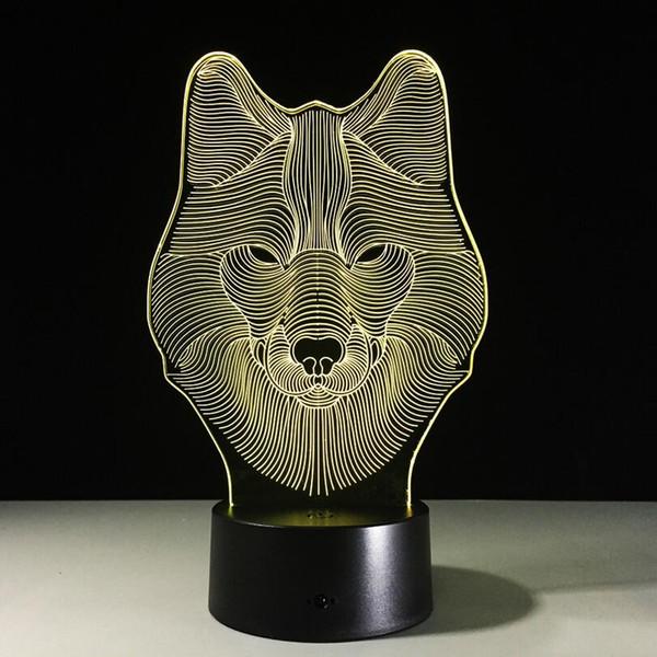 Regalo di Natale 3D a forma di lupo a forma di lupo Testa notturna a LED 7 colori Change Touch Lampada da comodino per bambini