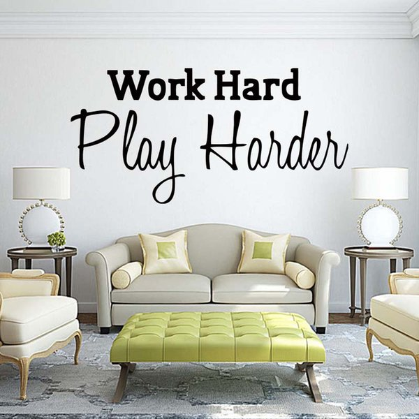 For Work Hard Play Harder Home Office Quotes Personality Wall Stickers Drawing Room Art Decals Vinyl Decoration DIY