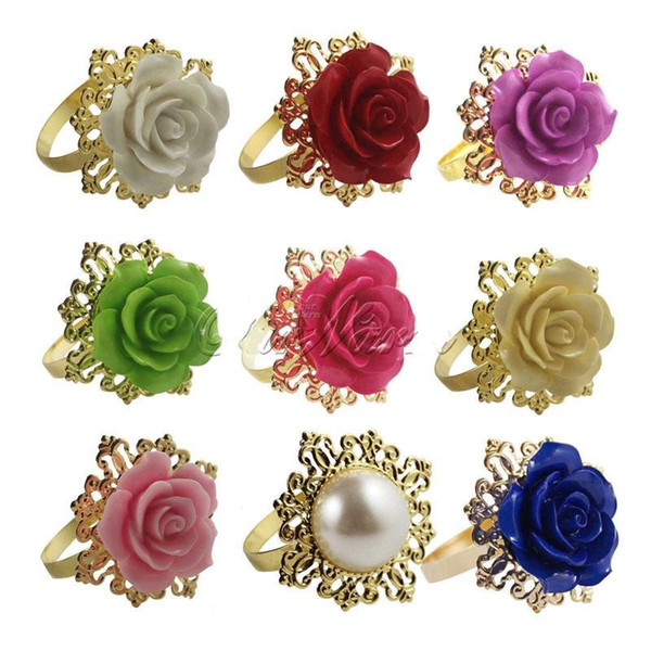 Elegant white Rose flower Napkin Rings Gold color Hoops Romantic Nice Looking Hotel Wedding Banquet Table Decoration Accessories