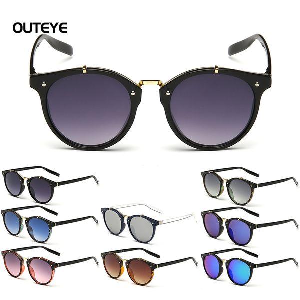 Wholesale- OUTEYE Hot Gradient Sun Glasses Round Plane Sunglasses Womens Mens Fashion Retro Designer Sunglasses Glasses W1