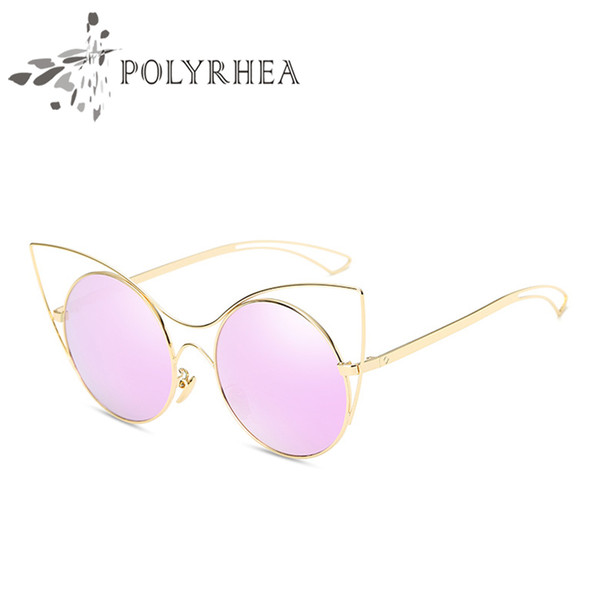2018 Luxury Cat Eye Sunglasses Women Brand Designer Sunglasses Classic Shades Round Frame Mirror High Quality With Box And Case