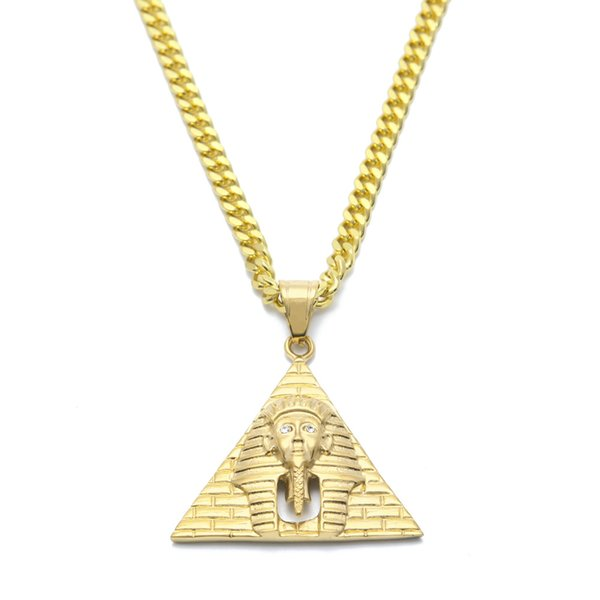 Hip Hop Egypt Pharaoh King Men Stainless Steel Pendant Necklace For Men/Women Vintage Hip Hop Jewelry With Chain