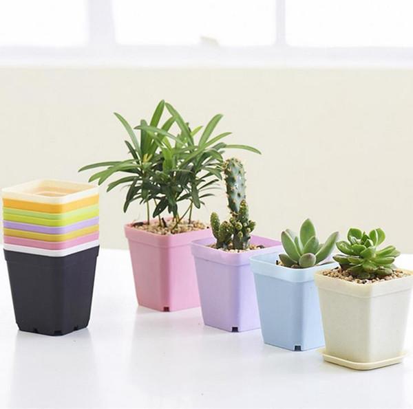 300sets Bonsai Planters Plastic Table Mini Succulents Plant Pots and Plate Gardening Vase Square Flower Pot Colorful