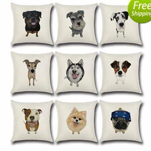 top popular Wholesale Cute Dog Horse Elephant Cushion Covers Cotton& Linen Pillow Cases Cushion Chair Pillow Case for Home Accessories 45*45cm 2019