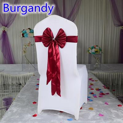 Burgandy colour chair sash long tail butterfly style wedding chair decoration luxury chair bow tie wholesale lycra spandex sash