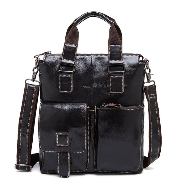 Genuine Leather Men Handbag Cow Leather Vertical Male Briefcase Casual Pockets Men Cross Body Shoulder Bag