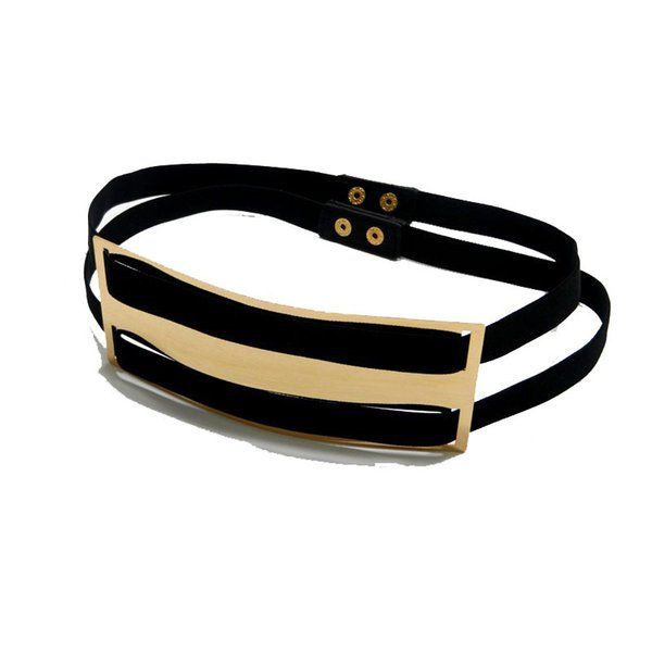 fa26a51859883 Wholesale- New Lady Designer Belts for Women wide Gold plate Black Elastic  Belt button Cinturones Woman Dress belt bg-061