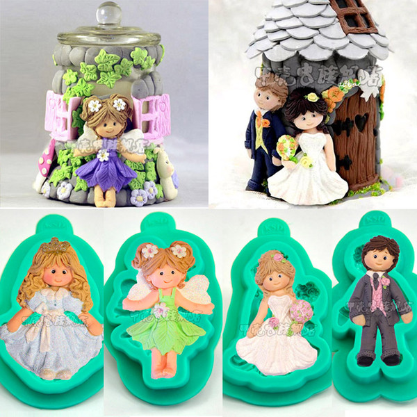 1pcs Fairy Angel Princess Silicone Mold Wedding Decoration Brides Groom patisserie reposteria Fondant Cake Tool Cupcake Toppers Pastry Mould