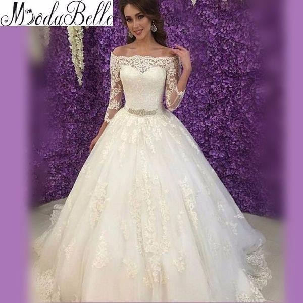 Acheter Robe Oriental Arabe Vintage Dentelle Mariée Robe De Bal Trois  Quarts À Manches Longues Princesse Robes De Mariée Femmes Vestidos Novia De