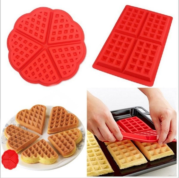 2017 ECO Friendly DIY Silicone waffle cookie muffin mould 4 with square love waffle mould Kitchen items cake mould wholesale free shipping
