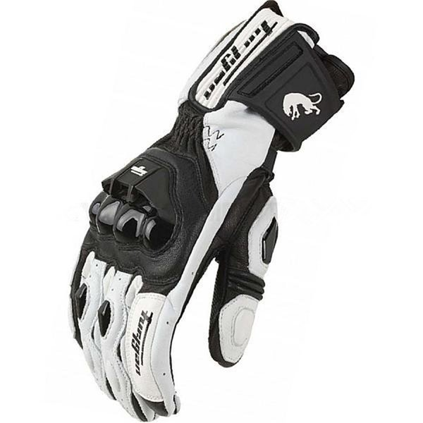 top popular 2017 Motorcycle Gloves Genuine Leather Glove Carbon Fibre Perforation Men Cycling Racing Moto Motorbike Motocicleta Guantes Luvas 2019