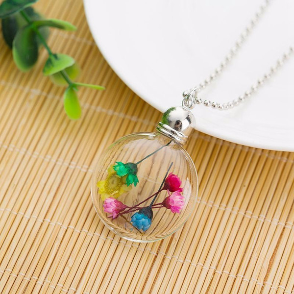 2017 Fashion Glass ball Bottle Child Christmas Gift Necklace Jewelry Silver Color Crystal Dried Flowers Specimens Pendant Necklace