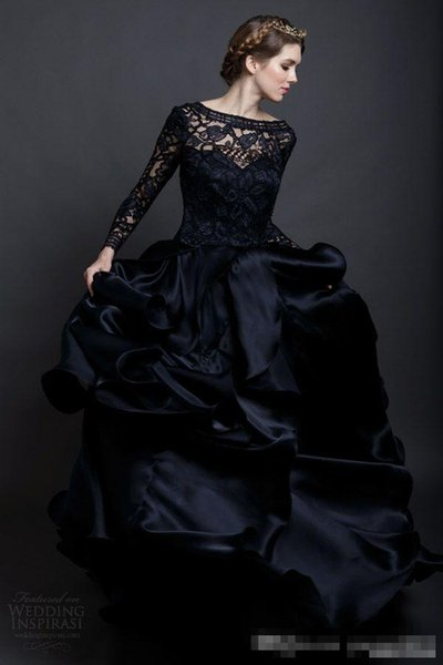 Modest Pnina Tornai 2017 Black Lace Long Sleeve Gothic Wedding Dresses Plus Size Vintage Ruffles Tiered Skirt Country Bridal Gowns
