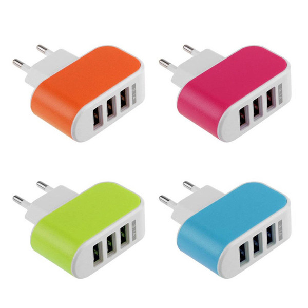best selling Hot selling eu us plug usb wall charger 5v 3A usb charger 3 port for samsung iphone lg
