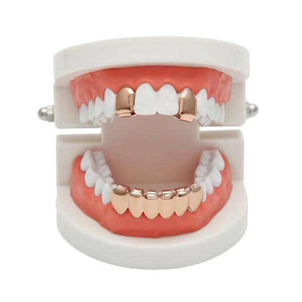 Hip Hop Rose Plated Custom Mouth Grillz Set 2pcs Single Top & 6 teeth Bottom set gold grills