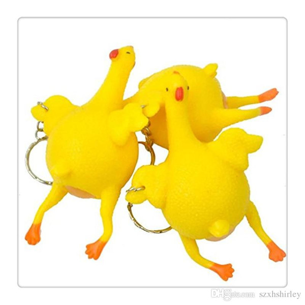 Wholesale Hot New Stress Relief Vent Tricky Toys Free DHL Squeeze Chicken Laying Egg Key Chain Funny Chicken Lay Eggs Toys Free Shipping