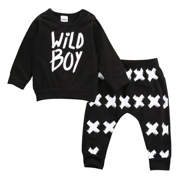 c3d4e4898 Wholesale- 2016 New baby boy girl clothes set unisex cotton long-sleeved  letter wild boy T-shirt+pants newborn baby clothing set