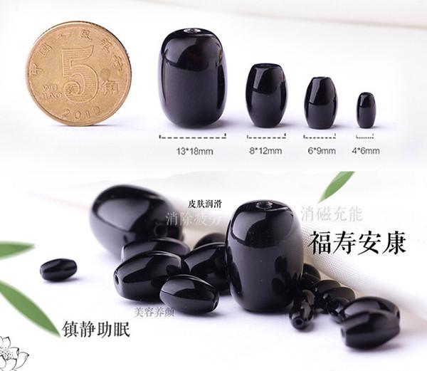 20Pcs / lot noir perle baril perles Ma Naomi naturel noir onyx perle diy bracelet bijoux accessoires Livraison gratuite