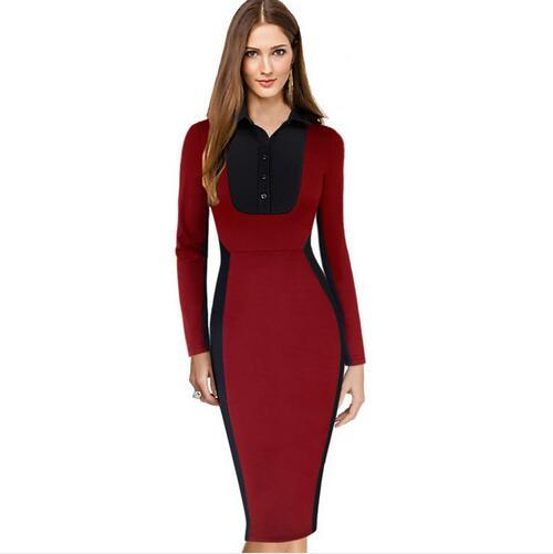 New Fashion Womens Elegant Colorblock Optical Illusion Turn Down Collar Wear to Work Office Business Stretch Bodycon Dress