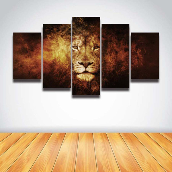 5 Panels Printed Lion Face Head Modular Picture Landscape Mockup Canvas Painting for Wall Art Home Decor Prints Poster Artwork