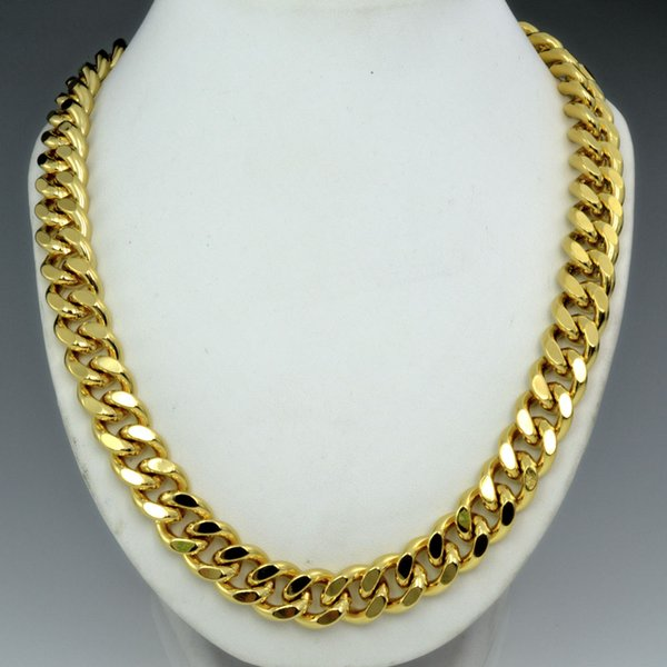18k gold Filled mens solid Heavy chain long Necklace curb ring link jewely N224 50cm 60cm