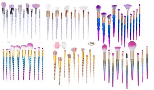 top popular HOT Mermaid Unicorn screw Diamonds gourd Makeup Brushes Sets 3D Colorful Professional Brushes Foundation Blush Cosmetic Brush Set Kit Tool 2019