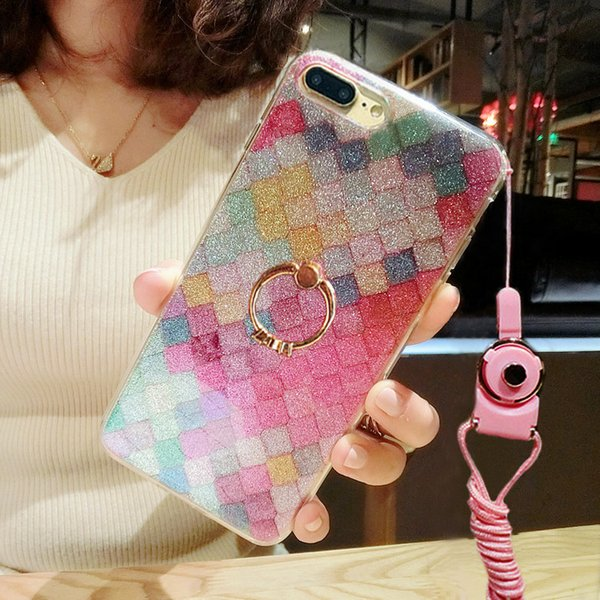 For iPhone 7 case TPU fish-scale patterns painting cell phone case diamond ring holder back cover shell for iphone 5S 6S 7 Plus OPPO R9 Plus