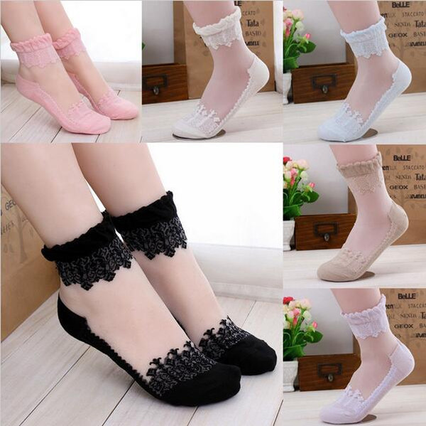 top popular Unisex High Quality Women Ultrathin Crystal Transparent ankle Beautiful Crystal Lace Elastic Short Socks lady socks 2021