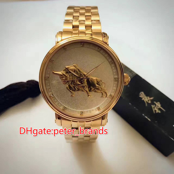 12 zodiac animals with Chinese characteristics cattle face full rose gold case automatic men watch 41mm glass back cover fashion style watch