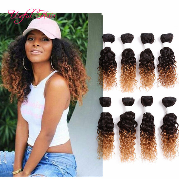 Ombre brown 8pcs loose wave Brazilian hair extension,mongolian curly human braiding hair crochet braids jerry blended weave hair for EU,US
