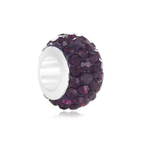 Toptan 30 adet Gümüş El Yapımı Kil Kristal Shambala Topu Charm Boncuk Big Hole Için Pandora Avrupa Takı Bilezik Takı