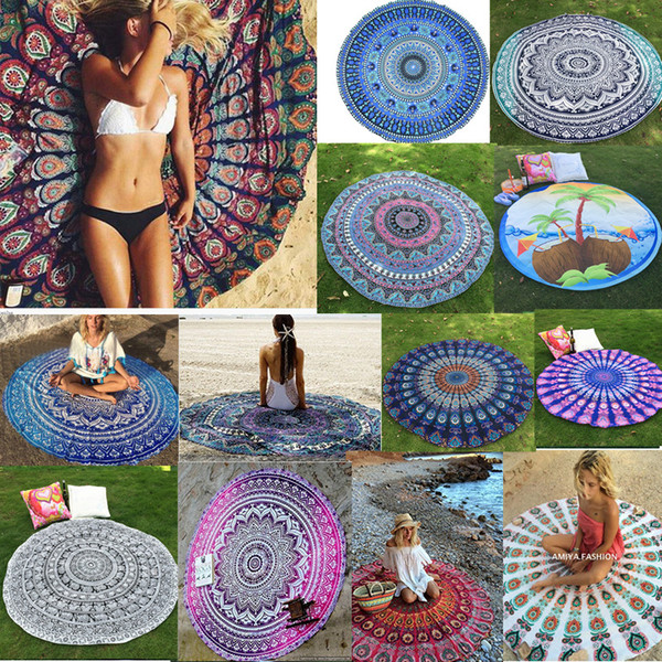 Wholesale- Tapestry Wall Hanging Gypsy Bedspread Bohemian Round Toalha Mandala Beach Towel Throw Yoga Mats Outdoor Casual Beach Mats