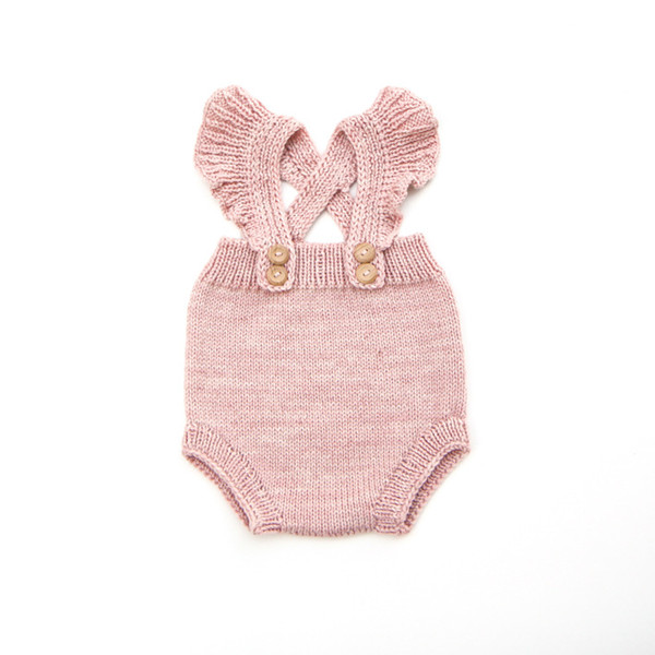 8dbc31119866 Everweekend Baby Girls Knitted Sweater Rompers Candy Pink Ruffles Fly  Sleeve Sweet Toddler Infant Kids Autumn Clothing