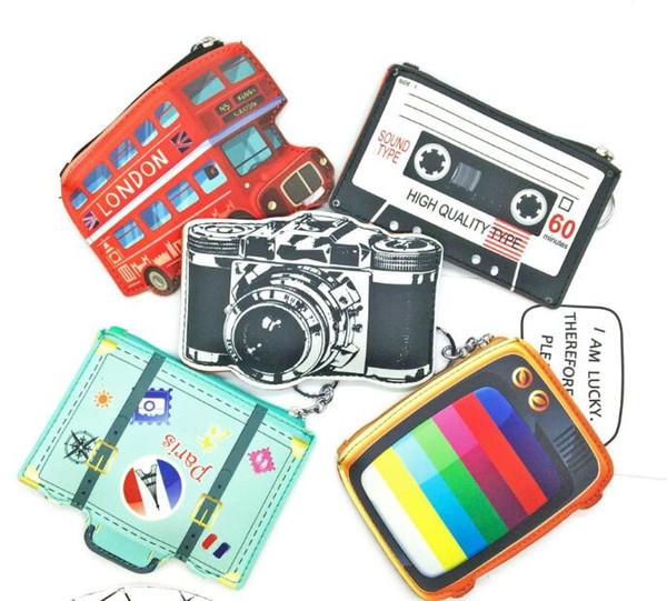 Mini Bonito Coin Bolsas Carteira Anel Chave Acessórios Zipper Saco Da Menina Dos Desenhos Animados Pingente de Ônibus Câmera de TV design moeda saco KKA3575