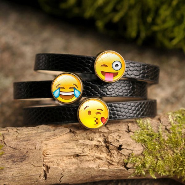 5PCS Creative Funny Emoji Charm Bracelet Glass Cabochon Art Picture Fashion Jewelry Black Leather bangle bracelet for Women Gift