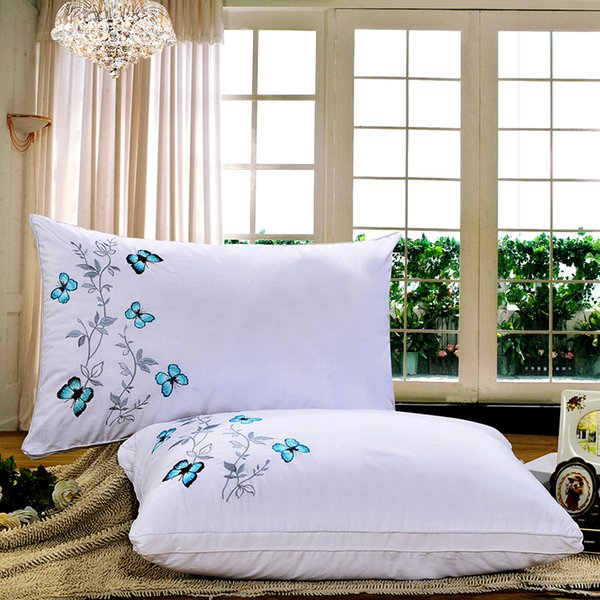 2017 Exclusive design luxury butterfly embroidery pillow for bedroom, hotel, hotel, motel, hospital, school bed pillow