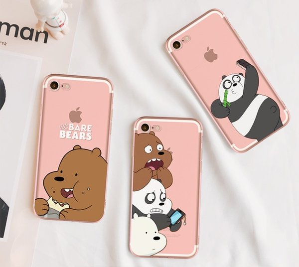 For iphone 7 cartoon Panda bear TPU painting case clear ultra thin back protective cover shell for iphone 6S 7 Plus 5S Samsung S6 S7 edge