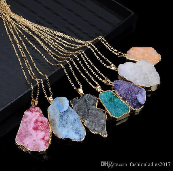 Scott Druzy Quartz Necklace Irregular Natural Stone Pendant Necklaces Chakra Gemstone Pendants Gold Chain for Women Jewelry gift