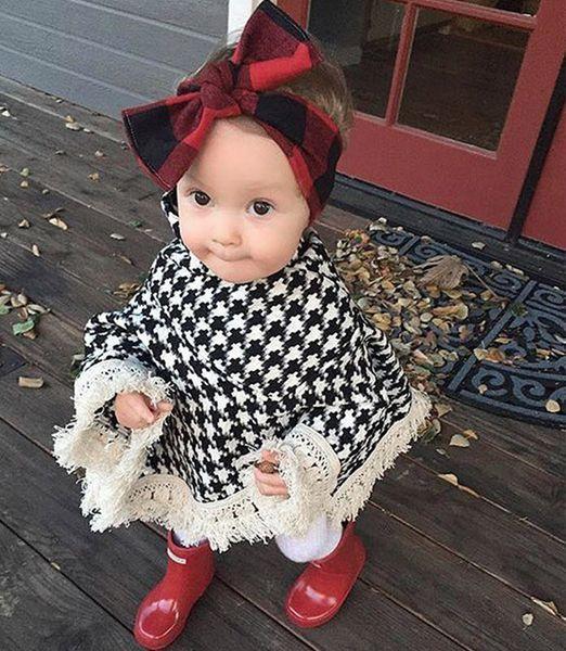 Ins Girls Outfit Baby Girls Poncho Cloak Kids Plaid England Tassel