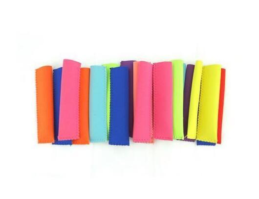 best selling Wholesale Popsicle Holders Pop Ice Sleeves Freezer Pop Holders 15x4.2cm for Kids Summer Kitchen Tools 10 color