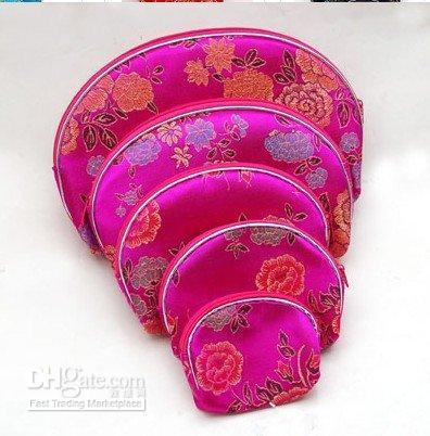 Light Travel Zipper Silk brocade Coin Purse 5 Size Jewelry Storage Bag Set Chinese Cosmetic Makeup Packaging Bags Phone Wallet 2 set/lot