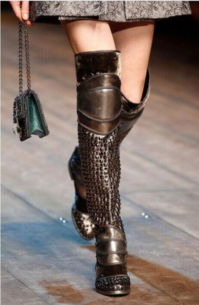 2017 over knee high boots women flat heel spike stud thigh high boots patchwork style motorcycles booties ladies party shoes
