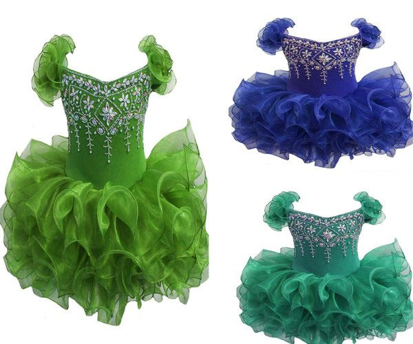 Wholesale New 2017 Baby Girls Glitz Pageant Cupcake Gowns Infant Beaded Mini Short Skirts Toddler Girls Knee Length Pageant Dresses